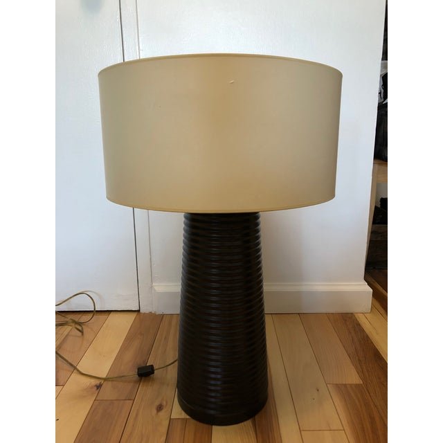 Designer Brown Cylindrical Table Lamp - Image 6 of 6
