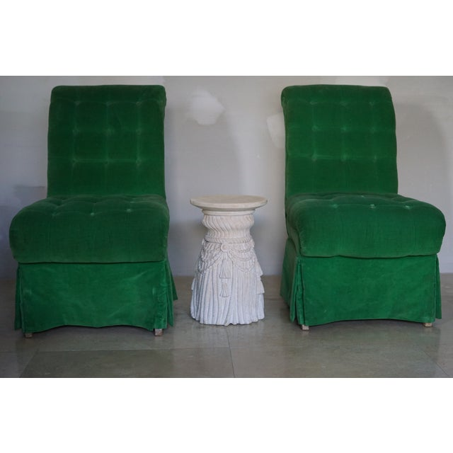 1970s Vintage Green Slipper Chairs - A Pair For Sale - Image 4 of 5