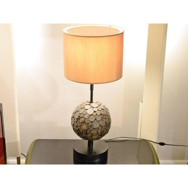 Ado Chale Very rare lamp made of wood, lacquered metal, and natural marcasite gemstone. This piece directly comes from Ado...