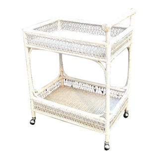 1970s White Wicker Bar Cart For Sale