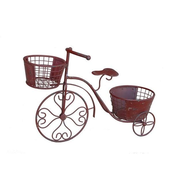 Nostalgic Red Metal Yard Bike Planter - Image 1 of 4