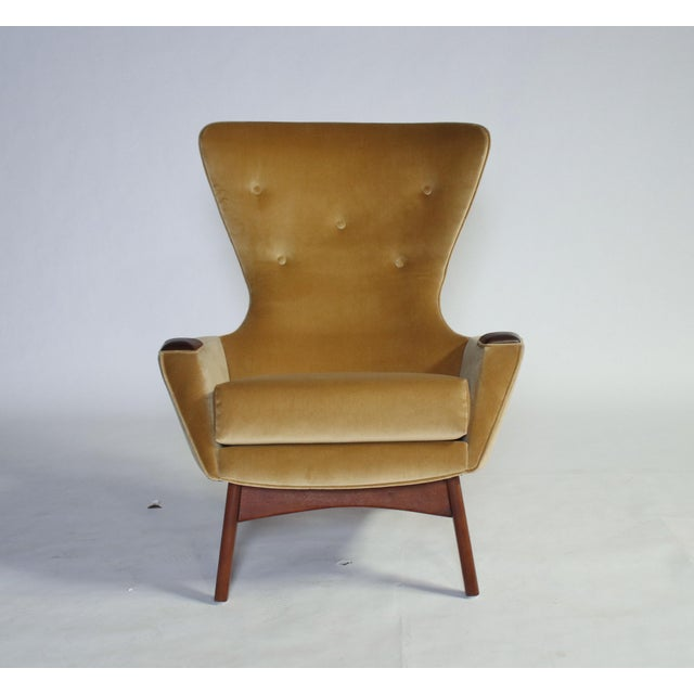1960s Adrian Pearsall Wing Chair for Craft Associates Model 2231-C and Ottoman For Sale - Image 5 of 11