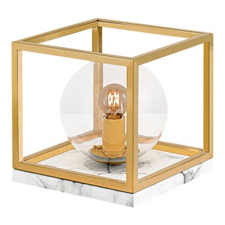 Paris Polished Brass Table Lamp on Faux Marble For Sale