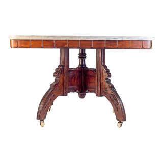 White Marble Top Late 19th Century Antique Victorian Carved Table For Sale