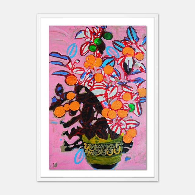 Jelly Chen Orange Tree by Jelly Chen in White Framed Paper, Large Art Print For Sale - Image 4 of 4