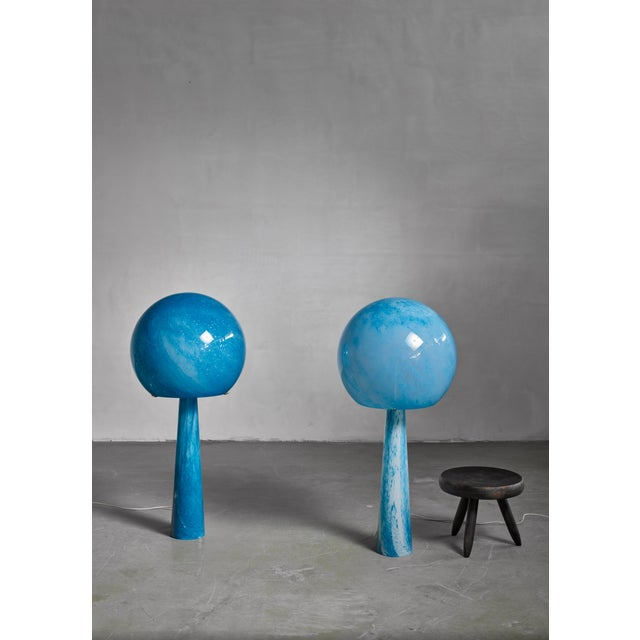 Mid-Century Modern Extraordinary Pair of Large Blue Glass Val-Saint-Lambert Console Lamps, 1973 For Sale - Image 3 of 4