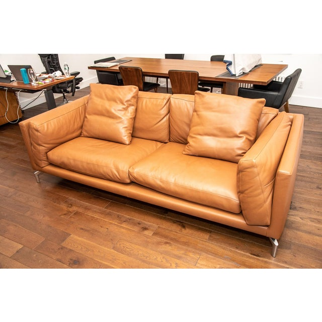2010s Design Within Reach Como Leather Sofa For Sale - Image 5 of 5