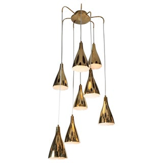 Vintage Monumental Paavo Tynell Perforated Brass Chandelier For Sale