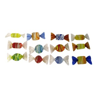 Murano Blown Glass Candy Pieces - Set of 12 For Sale