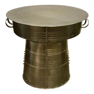 Interlude Home Industrial Modern Antimmo Large Silver Drum Table For Sale