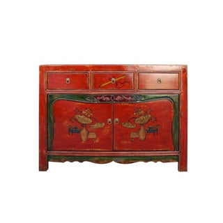 Chinese Distressed Bright Red Flower Graphic Table Cabinet