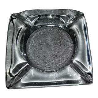 Vintage Brutish Blenko Clear Large Heavy Ashtray For Sale