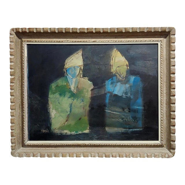 Robert Moesle -Two Abstract and Surreal Figures -Oil Painting For Sale