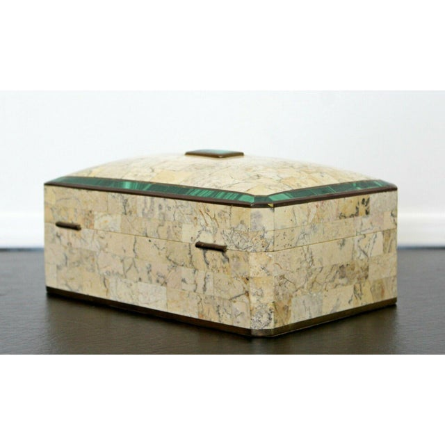 Metal Mid Century Modern Maitland Smith Brass Tessellated Stone Lidded Box Vessel 70s For Sale - Image 7 of 11