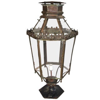 Outdoor 1920s Brass Post Lantern For Sale