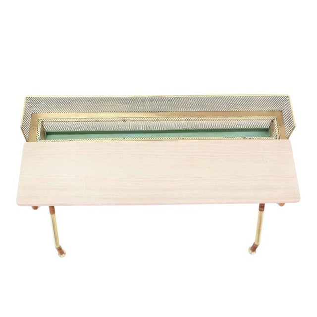 Hollywood Regency Rare X-Base Brass and Marble-Top Console Table with Planter For Sale - Image 3 of 9