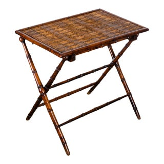 19th Century French Faux Bamboo Folding Table For Sale