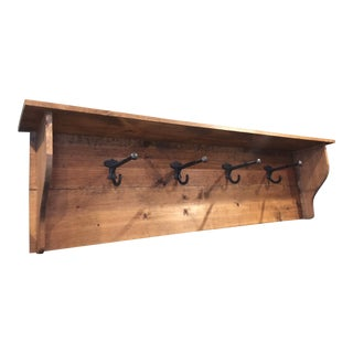 Rustic Industrial Wall Shelf Coat Hat Rack For Sale