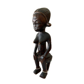 """Baule Mid Century Wood Sculpture of a Seated Female 12.5"""" H For Sale"""