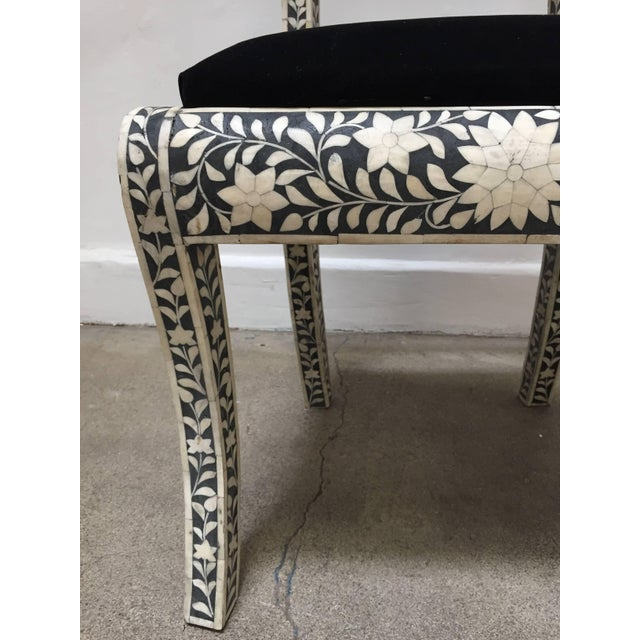 Vintage Mid Century Anglo-Indian Bone Inlaid Side Chairs With Ram's Head- a Pair For Sale - Image 9 of 11