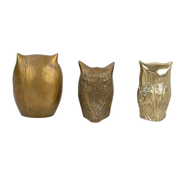 Brass Owl Figurines - Set of 3 - Image 5 of 6