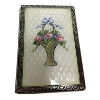 Vintage Guilloche Enamel Cigarette Case For Sale