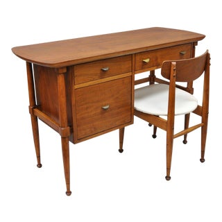 Mid-Century Danish Modern Walnut Kneehole Writing Desk & Chair - A Pair