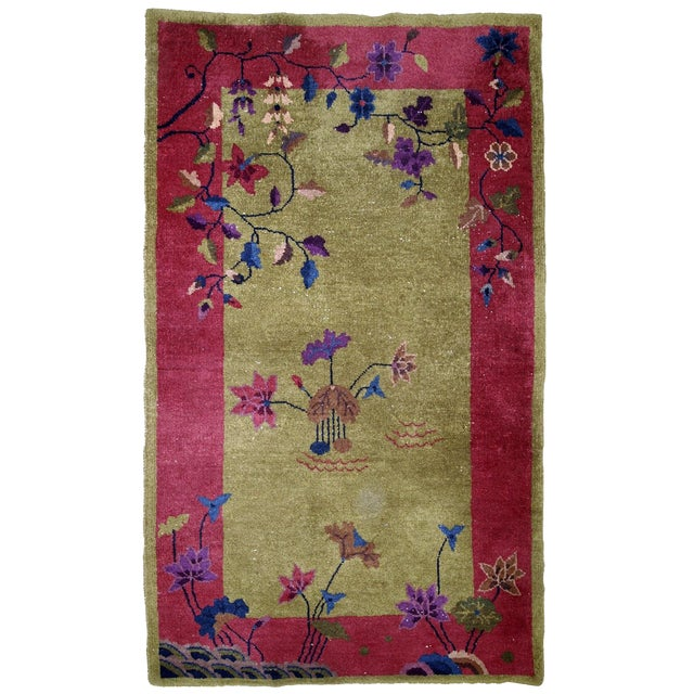 1920s, Handmade Antique Art Deco Chinese Rug 3.1' X 4.10' For Sale