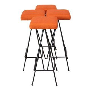 Set of Four Adrian Pearsall #11 Iron Barstools For Sale