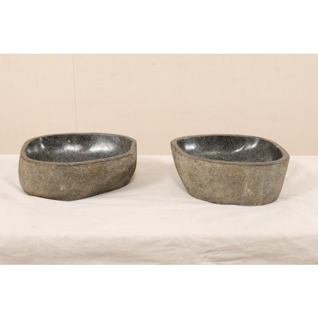 Early 21st Century Pair of Carved and Polished Grey River Rock Sink Basins For Sale - Image 5 of 12