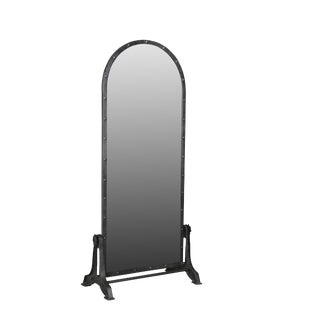 Rustic Iron Riveted Mirror on Stand For Sale