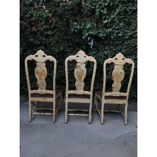 Late 18 C. Italian Carved and Handpainted Chairs - Set of 3 For Sale - Image 11 of 13