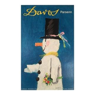 "Original ""Davos"" Swiss Travel Poster by Herbert Leupin For Sale"