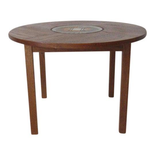 Tue Poulsen Tile Topped Danish Teak Side Table For Sale