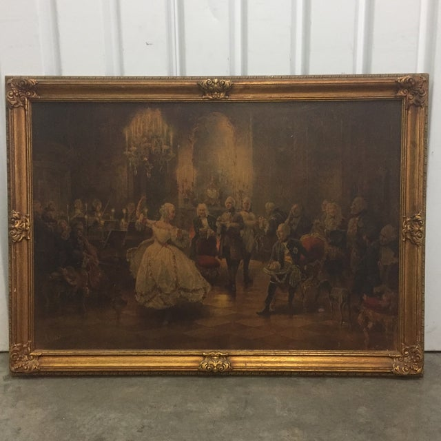 Framed Georg Schobel (1860-1941) French Court Painting / lithograph 40x 29.5 x 1.5