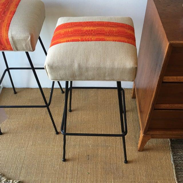 1950s Orange Striped Barstools - A Pair - Image 4 of 9