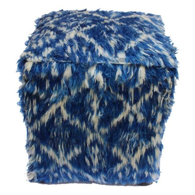 Wood Boho Chic Corine Blue/Ivory Morrocan Wool Upholstered Handmade Ottoman For Sale - Image 7 of 8