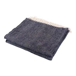 Contemporary Merino Wool Collection Indigo Throw For Sale