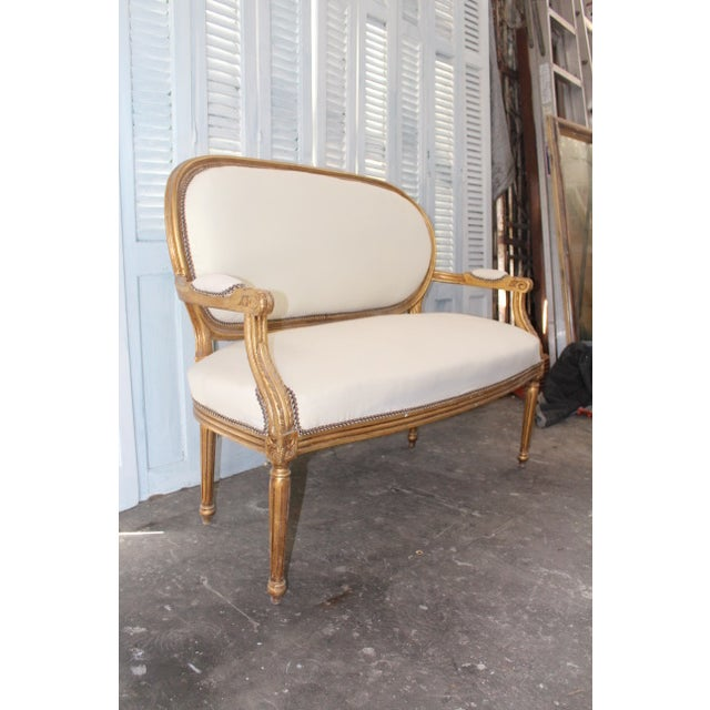 Late 20th Century Vintage 20th Century French Louis XVI Style Oval Back Settee For Sale - Image 5 of 9