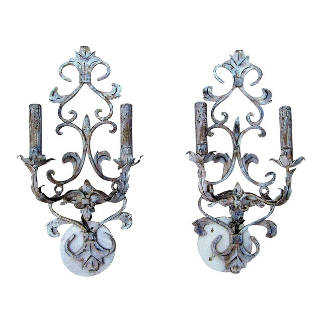 Vintage Whitewashed Metal Hardwired Decorative Sconces - A Pair For Sale