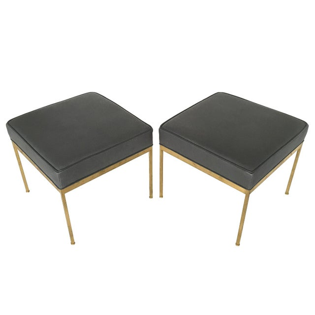 Lawson-Fenning Square Brass & Slate Gray Leather Ottomans - A Pair - Image 8 of 8