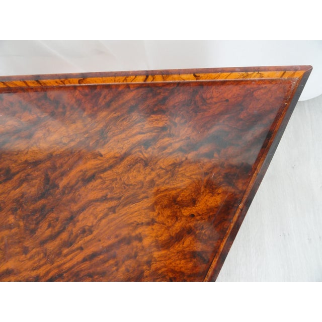 1970s Hollywood Regency Faux Tortoiseshell Acrylic Triangle Table - Short For Sale - Image 4 of 8