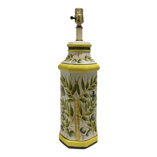 Ceramic Bamboo Detail Painted Lamp For Sale