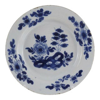 Antique English Faience Delft Botanical Plate, Blue & White For Sale