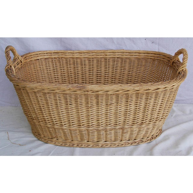 Vintage French Oval Wicker Market Basket - Image 3 of 10
