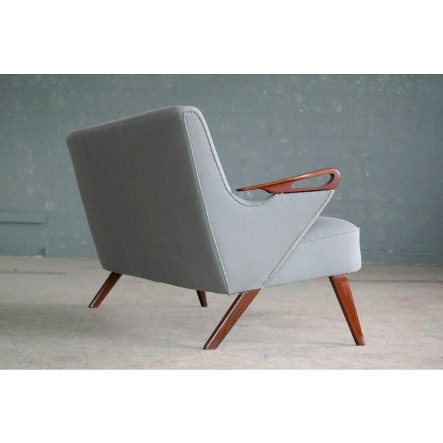 Teak Sven Skipper Attributed 1950s Small Sofa in Wool and Teak Danish, Midcentury For Sale - Image 7 of 11