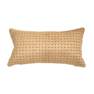 Contemporary Beige Laser Cut Cowhide Lumbar Pillow For Sale