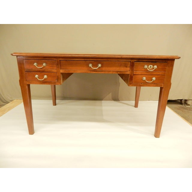 19th Century French Walnut and Leather Top Desk For Sale - Image 9 of 9