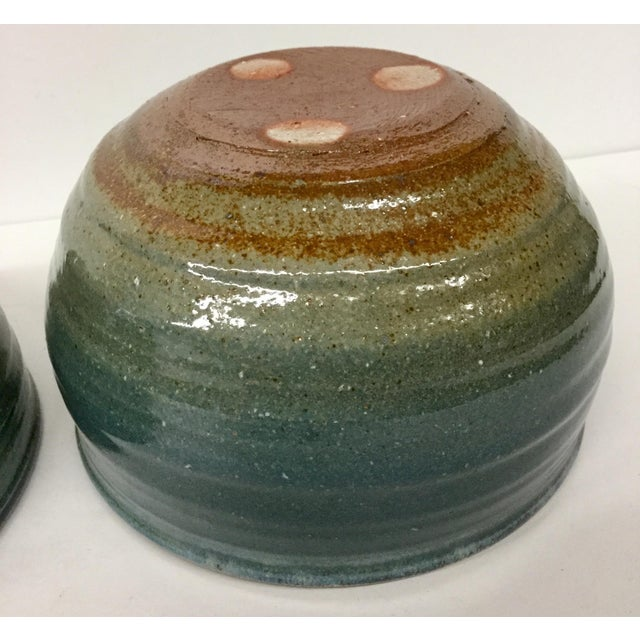 Blue Vintage Hand Thrown Clay Bowls - A Pair For Sale - Image 8 of 13