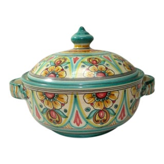 1960s Talavera Handpainted Spanish Pottery Casserole For Sale